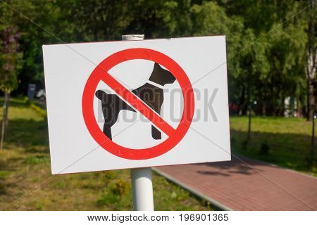 Forbidden dog walking sign in the park