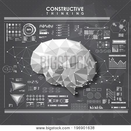 Conceptual Polygonal Brain with HUD elements. Futuristic user interface. Abstract virtual graphic