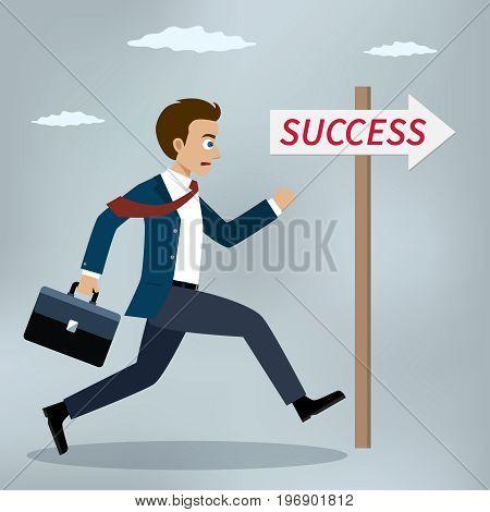 Success concept. Businessman running near success sign. Vector illustrator.