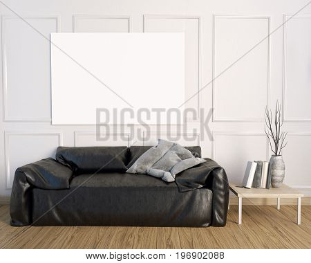 3d illustration interior with leather sofa. posterl mock up