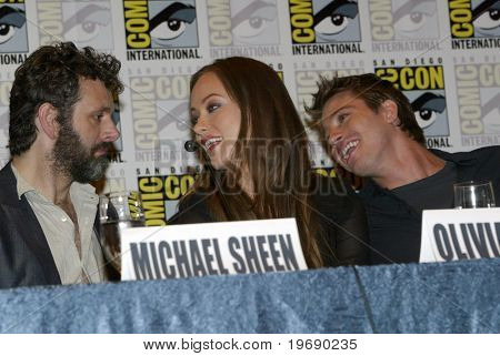 SAN DIEGO, CA - JULY 22: Michael Sheen, Olivia Wilde & Garrett Hedlund answer questions in the press room for