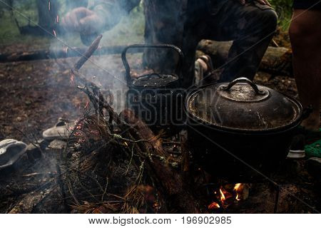 meal cooking at the hike time at lithuania