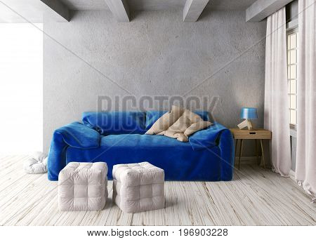 Mock up wall in interior with sofa. living room hipster style. 3d illustration