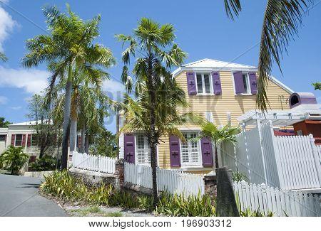 Hilly narrow streets of Charlotte Amalie town on St. Thomas island (U.S. Virgin Islands).