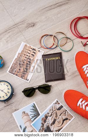 Variety of tourist summer accessories. Time for travelling.