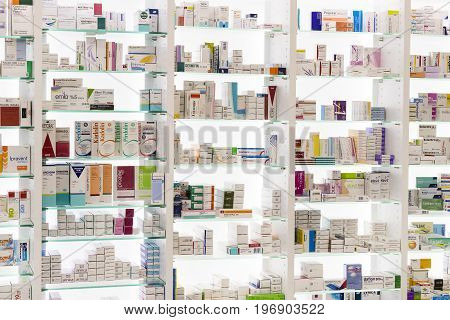 MARMARIS, TURKEY - 1 MAY , 2017: Pharmacy cabinets with medicines and drugs tablets and food additives