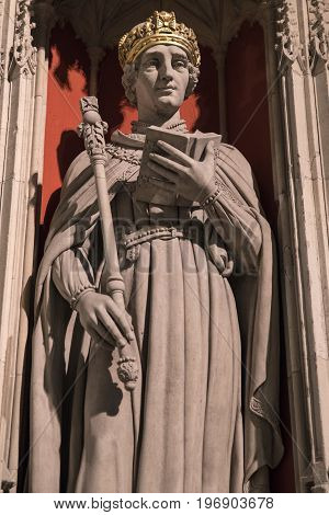YORK UK - JULY 19TH 2017: A statue of King Henry VI - part of the Kings Screen inside the historic York Minster in York England on 19th July 2017.