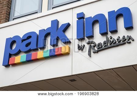 YORK UK - JULY 20TH 2017: The Park Inn by Radisson logo one th exterior of their hotel in the city of York UK on 20th July 2017.