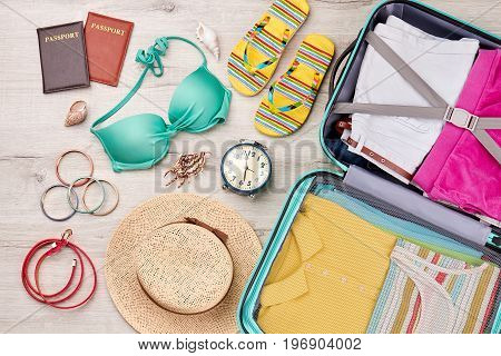 Summer holiday travel background. Relocate abroad with bright things.
