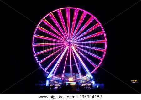 Blurred Giant Wheel, Ferris At Night