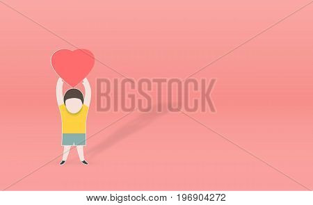 person with heart shape in hand holding cute paper art vector paper cut illustration