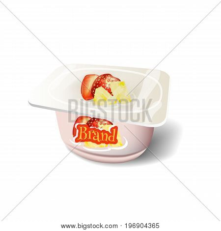 Insulated pack of yogurt on a white background.