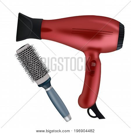 hair dryer and hair comb on a white background
