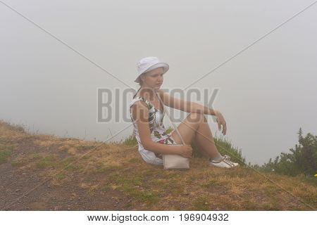 Woman In Clouds On Madeira Island