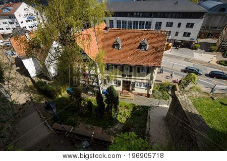 MARBURG GERMANY - APRIL 18 2015: Historic streets of the old quarters of Marburg. Top view. Marburg is a university town in the German federal state (Bundesland) of Hessen.
