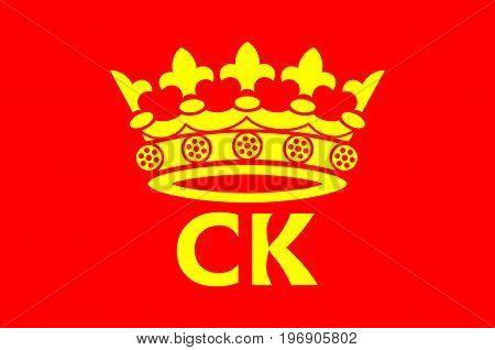 Flag of Kielce is a capital city of Swietokrzyskie Voivodeship in south central Poland. Vector illustration