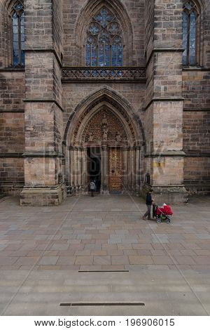 MARBURG; GERMANY - APRIL 18; 2015: Main portal of St. Elizabeth's Church. The medieval church was built by the Order of the Teutonic Knights in honour of St. Elizabeth of Hungary.