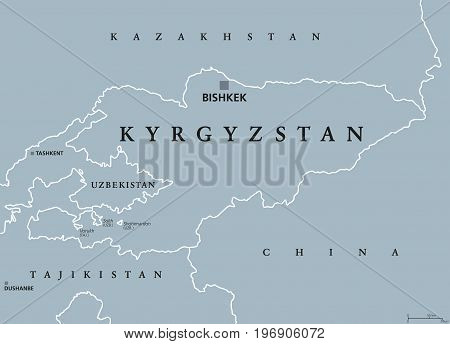 Kyrgyzstan political map with capital Bishkek and borders. Kyrgyz Republic, a landlocked country in Central Asia. Gray illustration with English labeling. Vector.