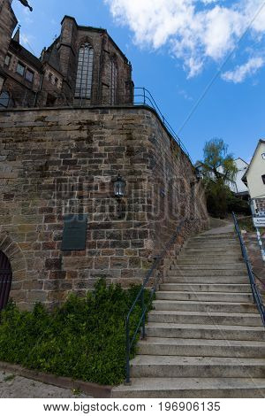 MARBURG GERMANY - APRIL 18 2015: Exterior architectural elements of University Church of Marburg. Medieval Evangelical church in the Gothic style.