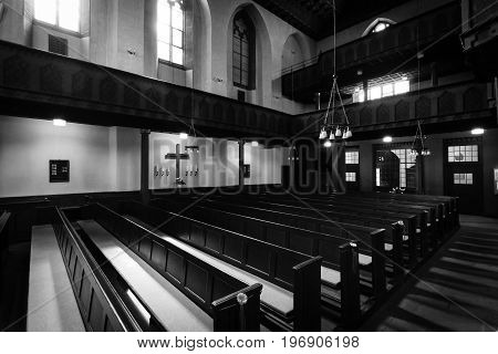 MARBURG GERMANY - APRIL 18 2015: Interior of University Church of Marburg. Black and white. Medieval Evangelical church in the Gothic style.