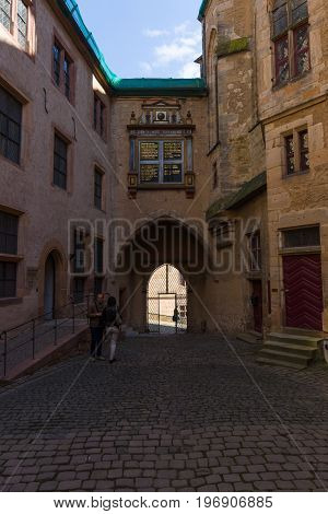 MARBURG GERMANY - APRIL 18 2015: The courtyard of the Marburger Schloss (Marburg castle) is the first residence of Landgraviate of Hesse.