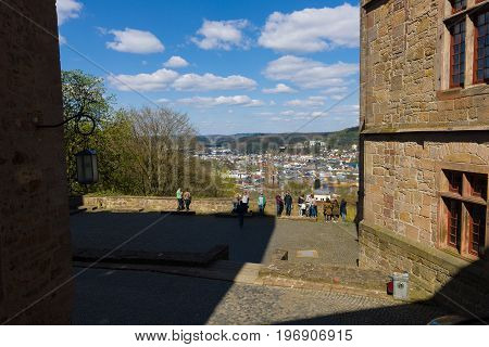 MARBURG GERMANY - APRIL 18 2015: View of the historic town center from the courtyard Marburger Schloss (Marburg castle).