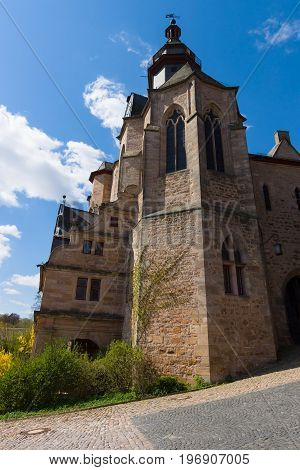 MARBURG GERMANY - APRIL 18 2015: The Marburger Schloss (Marburg castle) is the first residence of Landgraviate of Hesse.