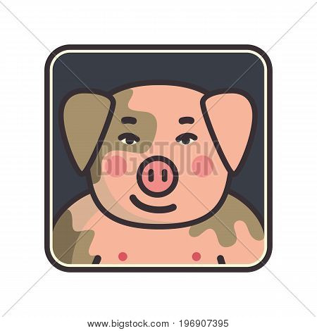 Cartoon animal head icon. Pig face avatar for profile of social networks. Hand drawn design. Vector illustration