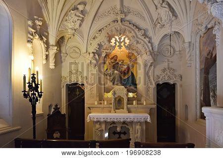 Interiors Of The Chapel In Quinta Da Regaleira, Portugal