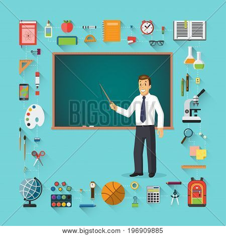 Back to school. Teacher with pointer stick standing in front of a school chalkboard with education icons. School supplies - schoolbook, stationary, training aids, school bag etc. Vector illustration