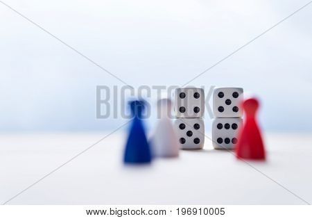 Nine eleven from dice numbers and board game pawns with USA flag colors. 9-11 concept.