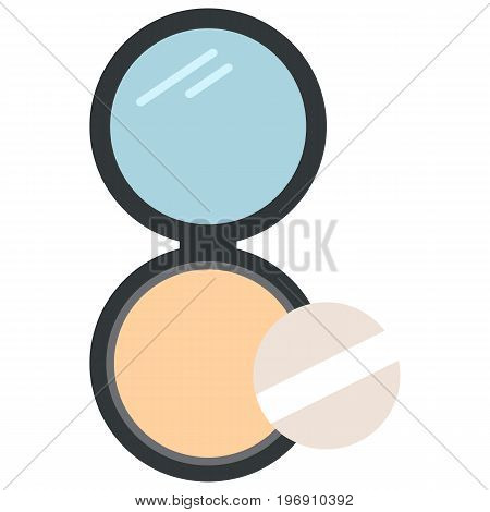 Face cosmetic makeup powder in black round plastic case icon, vector illustration flat style design isolated on white. Colorful graphics
