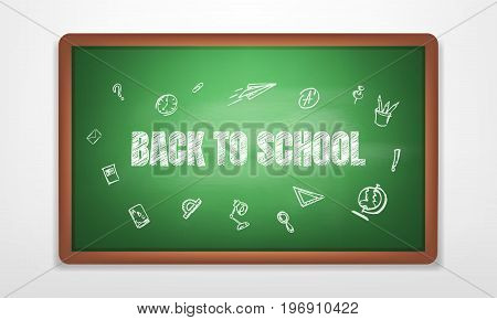 Back to school. Blackboard with chalk written typography back to school and hand drawn chalk scetches. Green realistic blackboard
