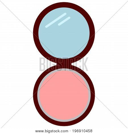 Blusher for face cosmetics icon, vector illustration flat style design isolated on white. Colorful graphics