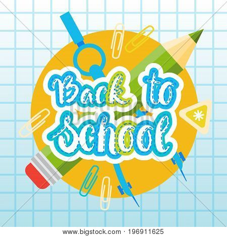 Back To School Logo Text On Notebook Background With Studing Supplies Flat Vector Illustration