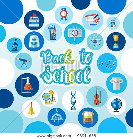 Back To School Logo Text On Background With Studing Supplies Flat Vector Illustration