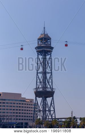 Cable car from Mount Montjuic to the seaport. Barcelona. Spain.