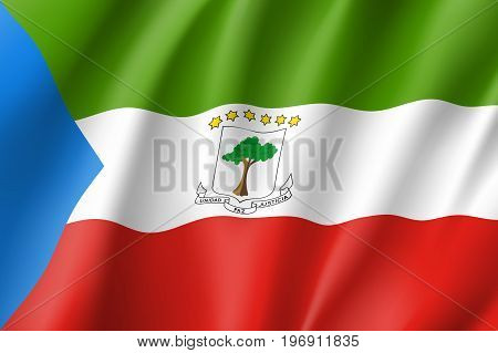 Equatorial Guinea flag. National patriotic symbol in official country colors. Illustration of Africa state waving flag. Realistic vector icon