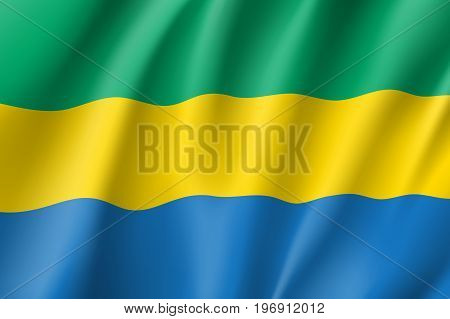Gabon flag. National patriotic symbol in official country colors. Illustration of Africa state waving flag. Realistic vector icon