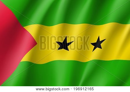 Sao Tome and Principe flag. National patriotic symbol in official country colors. Illustration of Africa state waving flag. Realistic vector icon