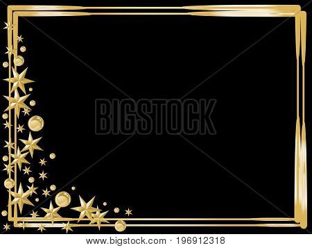Christmas frame with golden stars and balls