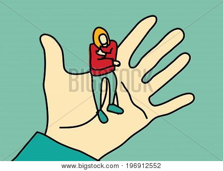 Woman standing on palm hand. Color vector illustration. EPS8