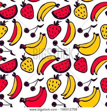 Vector seamless cartoon pattern with banana strawberry cherry. Hand drawn colored fruits pattern for paper textile handmade decoration scrap-booking polygraphy clothes cards.