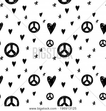 Vector seamless cartoon pattern with peace sign hearts and stars. Hand drawn black and white hippie pattern for paper textile handmade decoration scrap-booking polygraphy clothes cards.