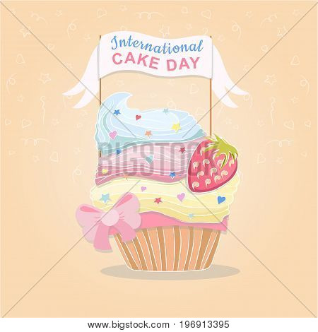 Greeting card for  international cake day, tasty cupcake with strawberries on vector background
