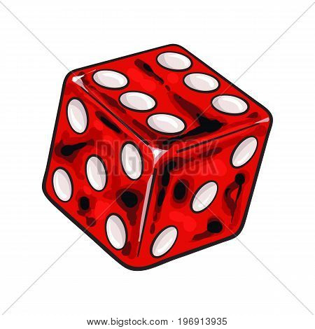 Realistic hand drawing of single shiny red dice, sketch style vector illustration isolated on white background. Hand drawn shiny dice, casino, gambling attribute