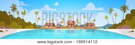 Sea Shore Beach With Villa Hotel Beautiful Seaside Landscape Summer Vacation Concept Flat Vector Illustration