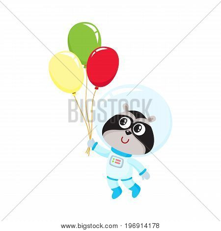 Cute little raccoon astronaut, spaceman in space suit holding bunch of balloons, cartoon vector illustration isolated on white background. Baby raccoon astronaut, spaceman in spacesuit holding balloon
