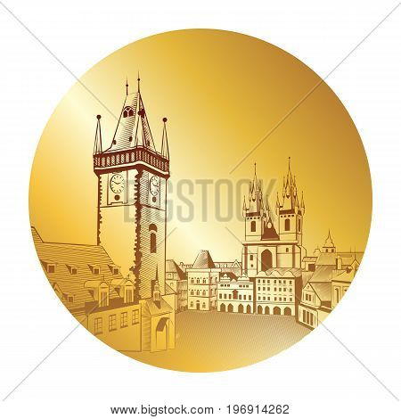 Prague Vintage drawing on a gold background. Ancient city engraving in a round frame.