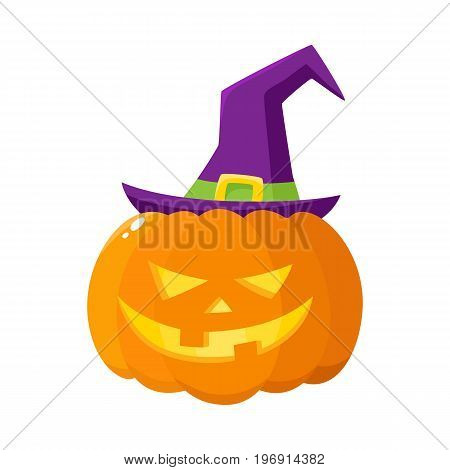 Jack o lantern, orange pumpkin in pointed witch hat, traditional Halloween symbol, cartoon vector illustration isolated on a white background. Halloween pumpkin, jack o lantern in pointed wizard hat